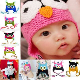 New Cute Baby Boy Girl Toddler Child Xmas Owl Knit Crochet Hat Beanie Cap 023