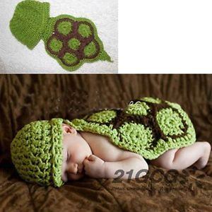 Newborn Baby Girl Boy Sea Turtle Knit Crochet Clothes Outfit Photo Prop CA1005