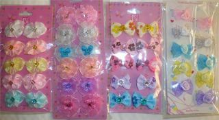 New 42 Infant Velcro Hair Bows Clips Toddler Baby Girls Barrettes Dog Infant