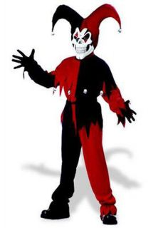 New Wicked Evil Jester Clown Skull Scary Child Boys Halloween Costume Large RDBK