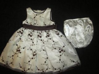 Bonnie Baby Dress Girl Sz 24M Off White Brown Embroidered Floral Fancy Portrait