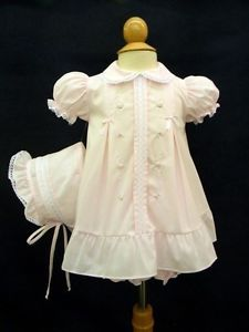 Will'Beth Vintage Inspired Newborn Baby Girls Pink Dress Bonnet Set Reborn Dolls