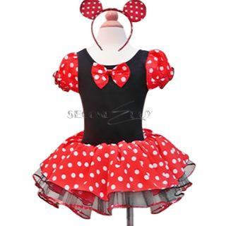 New Girls Minnie Mouse Party Fancy Costume Tutu Dress Ear Hendband 6 7 Kids Gift