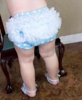 Light Blue with Dots Baby Girl Ruffle Panties Bloomers Diaper Cover s for 0 2Y