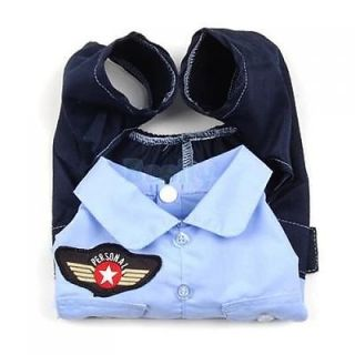Cool Pet Dog Puppy Police Casual Suit Shirt Pant Coat Clothes Apparel Uniform XL