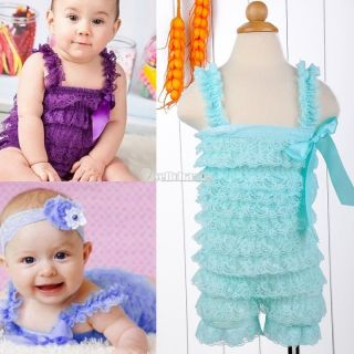 Newborn Infant Baby Girl Lace Posh Petti Ruffle Romper 0 3 Years One Piece W3LE