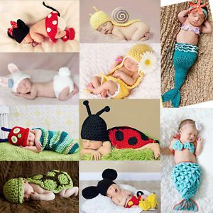 New Cute Newborn 9M Baby Girls Boy Knit Crochet Mermaid Clothes Outfits Hot Sell