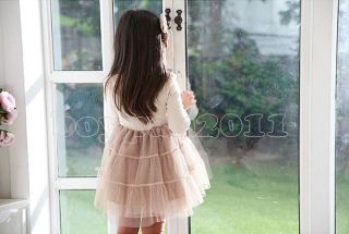 New Kids Toddlers Girls Princess Party Long Sleeve Dress Lace Collars Age 2 7Y