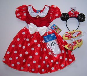 Disney Minnie Mouse Red Polka Dot Costume Dress s 5 6 Ears Gloves Shoes