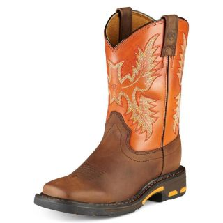 Ariat Workhog Square Toe Western Boots Orange Toddler Boys