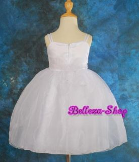 White Flower Girls Wedding Pageant Dress Sz 18 24M FG77