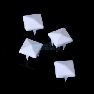 100pcs White Pyramid Studs Spots Punk Spikes for DIY Craft Leathercraft Shoe