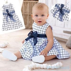 Kids Cotton Toddler Costume Top Bow Knot Plaids Dress Outfit Clothing 0 4 Years