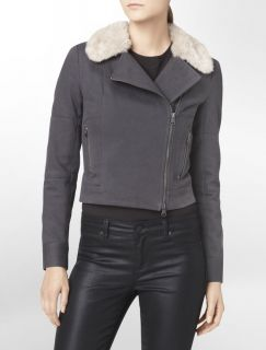 Calvin Klein Asymmetrical Zip Faux Fur Trim Jacket Womens