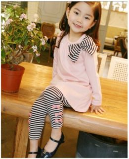 2pcs Girls Toddler Baby Clothes Striped Bow Shirt Leggings Kids Sets Suits 2 7Y