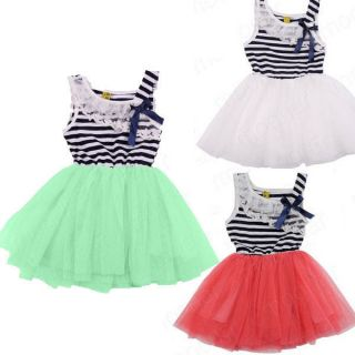 Lovely Kids Girls Striped Sleeveless Princess Party Vest Dress Tulle Tutu Skirt
