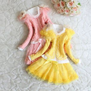 Girls Outfit Jacket Top Dress Toddler Party Pageant Lace Flower Clothes YF016