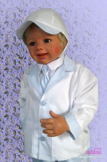 White Blue Baby Boy Christening Suit Party Wedding Pageboy Outfit Suit Set 5pcs