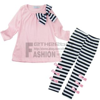 Girls Kids Pink Top Black White Stripe Leggings Outfits Sz 2 7 Years Costume