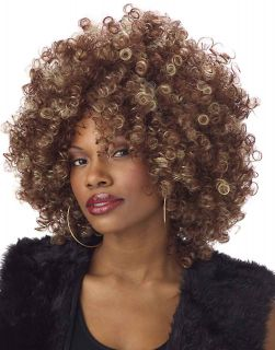 70's Fine Foxy fro Disco Womens Afro Costume Wig Brown
