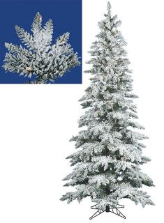9' Pre Lit Flocked Layered Utica Fir Slim Artificial Christmas Tree – Clear LED