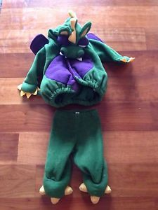 Old Navy Baby Infant Dragon Halloween Costume Fleece Green Purple Boy Girl 6 12M