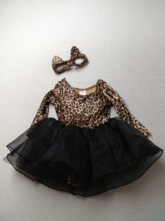 Baby Toddler Girl Gymboree Leopard Halloween Costume Tutu Ears Size 12 18 Months