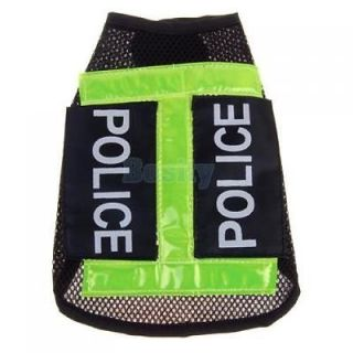 3X Cool Pet Dog Doggie Mesh Vest Uniform Police Clothes Apparel Coat Costume S