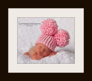 Newborn Infant Baby Knit Crochet Pom Hat Photography Photo Prop Baby Pink Hat