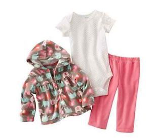 Carters Baby Girl Clothes 3 Piece Set Brown Elephants 3 6 9 12 18 24 Months