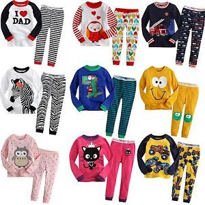 "Baby Toddler Kid's Clothes Boys Girls Sleepwear Pajama Size 12M 5T ""Set 9"""