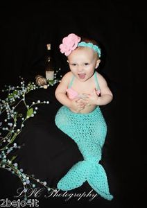 Newborn Infant Baby Girl 5 Piece Mermaid Outfit Crochet Photo Prop