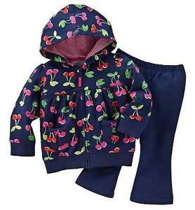 Carters Baby Girl Clothes 2 Piece Set Blue Cherries 3 6 9 12 18 24 Months