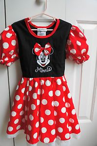 Disney Girls Minnie Mouse Toddler Costume Dress Size 4 5 Excellent Condition