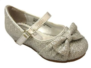 New Silver Glitter Toddler Baby Girl Fashion Holiday Dress Shoes Pageant Wedding
