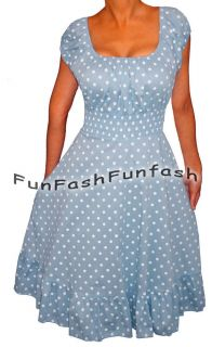 AZ3 FUNFASH Baby Powder Blue White Polka Dot Rockabilly Dress Plus Size 2X 22 24