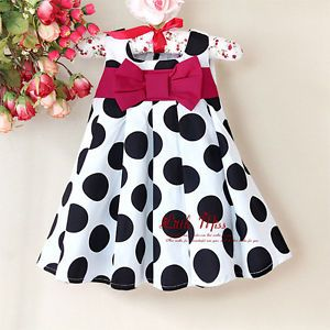 Baby Girl's Navy Blue White Polka Dot Christmas Dress with Red Bow 3 30 Months