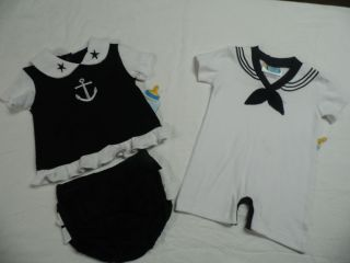 Twin Boy Girl Set Cute 2pc Black Sailor Dress Outfit Infant Baby Nautical