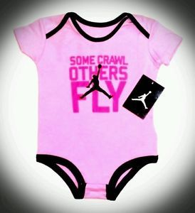 New Nike Air Jordan Baby Girl Bodysuit Romper Some Crawl Others Fly 6 9 Clothes