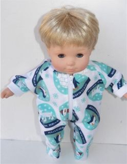 New Cute White Pajamas PJs Doll Clothes Made for Fit 15 Bitty Baby Girl Boy Twin