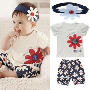 3pcs Baby Girl T Shirt Headband Top Pants Shorts Outfit Clothes 0 12Month NL00
