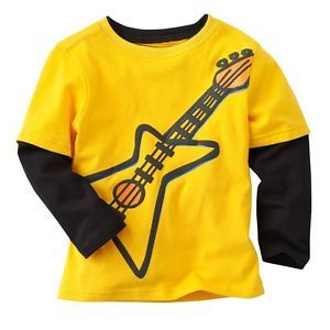 "Newborn Baby Toddler Kids Boy Girl Clothes Long Top Tee T Shirt ""Guitar Shirt"""