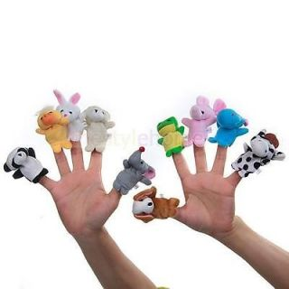 10 Animal Family Finger Puppets Set Teach Baby Hand Toy