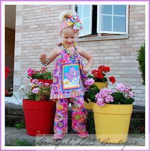 BonEful RTS Boutique Baby Girl Birthday Care Bear New Halter Top Pants Set 2 3 4