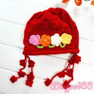 Handmade Crochet Flowers Baby Girl Toddler Kid Knit Photography Photo Prop Hat