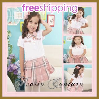 Boutique Girl Simple Sleek School Uniform Style Pink Plaid Checks Pleated Dress