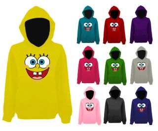 Womens Spongebob Squarepants Smiley Face Funny Pullover Hoodie New UK 12 22