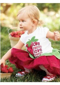 2pcs Baby Girls T Shirt Top Skirt Tutu Strawberry Outfit Dress Clothes 3 12M