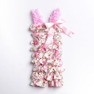Newborn Infant Baby Girl Lace Posh Petti Ruffle Rompers Tutu Pink 6 24M