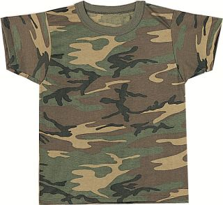 Woodland Camouflage Military Army Kid Tees Boy Girl Camo T Shirt